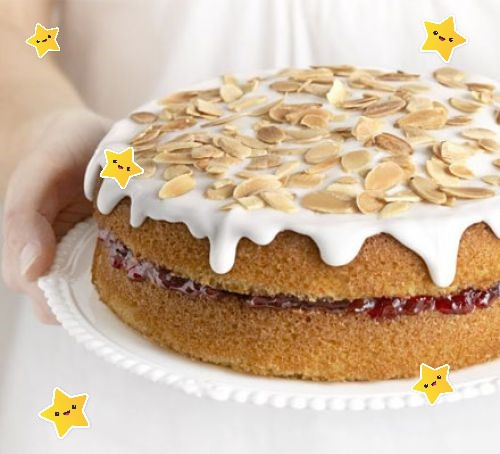 Simple Cherry Bakewell Cake.
