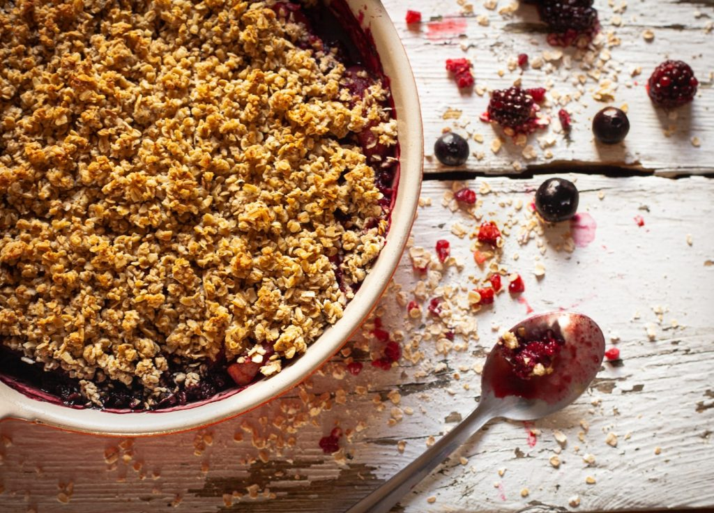 Recipe: Spiced Three Fruit Crumble